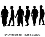 silhouettes of a little girl... | Shutterstock . vector #535666003