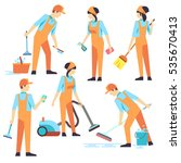 cleaning staff in different... | Shutterstock . vector #535670413