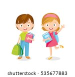 boy and girl with books and... | Shutterstock .eps vector #535677883