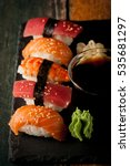 sashimi and sushi rolls on a... | Shutterstock . vector #535681297
