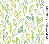 doodle leafs seamless pattern.... | Shutterstock .eps vector #535687843