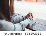 women christian read bible ... | Shutterstock . vector #535693393