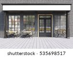Front View Of A Cafe Exterior...