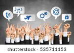 many hands of businesspeople... | Shutterstock . vector #535711153