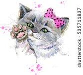 Stock photo cute kitten watercolor cat illustration 535711837