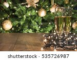 new year champagne on wood  ...   Shutterstock . vector #535726987