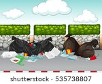 scene with rubbish lying around ... | Shutterstock .eps vector #535738807