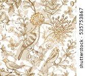 birds and flowers vector... | Shutterstock .eps vector #535753867