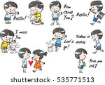 kids and pets set | Shutterstock .eps vector #535771513