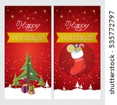happy holidays. greeting cards | Shutterstock .eps vector #535772797