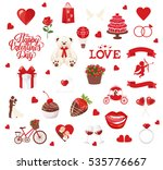 valentine's day icons  teddy... | Shutterstock .eps vector #535776667
