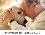 Stock photo senior man and big dog closeup 535784173
