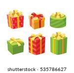 vector christmas gifts | Shutterstock .eps vector #535786627