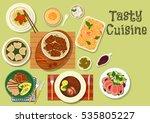 meat dinner with fruit dessert...   Shutterstock .eps vector #535805227