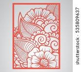 die cut card. laser cut vector... | Shutterstock .eps vector #535809637