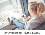 woman with mobile phone in... | Shutterstock . vector #535816387