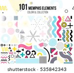 Mega set of memphis design elements, template for your project, animation, and, advertising, advertisement, commercial banner, poster, t-shirt. Big colorful vector collection | Shutterstock vector #535842343