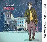 let it snow. winter fashion... | Shutterstock .eps vector #535867333