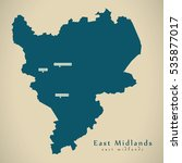 modern map   east midlands uk... | Shutterstock . vector #535877017