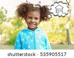 Small photo of Cute little girl dreaming of home. Adoption, custody and childcare concept.