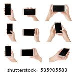 collage of hands with modern... | Shutterstock . vector #535905583