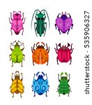 funny colorful bugs set. vector ... | Shutterstock .eps vector #535906327