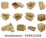 set of cartoon shipping boxes...