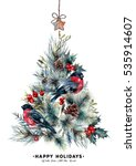 watercolor christmas tree made... | Shutterstock . vector #535914607
