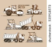 asphalt paver finisher  tipper... | Shutterstock .eps vector #535918573