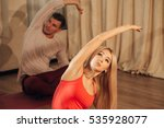 group of people making yoga...   Shutterstock . vector #535928077