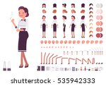 Secretary character creation set. Self-confident businesswoman, attractive assistant, effective salesperson, girlboss, femme fatale. Build your own design. Cartoon flat-style infographic illustration | Shutterstock vector #535942333