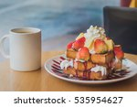 toast served with whipped cream ... | Shutterstock . vector #535954627