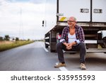 handsome senior man sitting on... | Shutterstock . vector #535955593