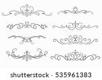 set of 8 decorative swirls... | Shutterstock .eps vector #535961383