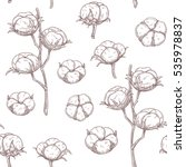 cotton flowers seamless pattern.... | Shutterstock .eps vector #535978837