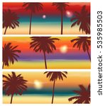 travel banner with palm trees.... | Shutterstock .eps vector #535985503
