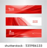 Vector set of abstract silk wavy headers, red banners. Use for web site, ad, brochure, flyer   Shutterstock vector #535986133