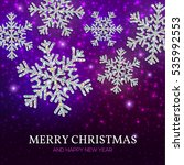 christmas banner with glowing... | Shutterstock .eps vector #535992553