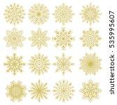 set of 16 golden snowflakes....   Shutterstock . vector #535995607