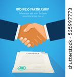 handshake of business people on ... | Shutterstock .eps vector #535997773