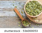bowl with pumpkin seeds and a... | Shutterstock . vector #536000053