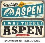 aspen colorado retro metal sign ... | Shutterstock .eps vector #536024287