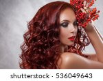 beauty redheaded woman's face... | Shutterstock . vector #536049643