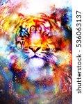 magical space tiger  multicolor ... | Shutterstock . vector #536063137