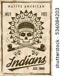 american indians vector poster... | Shutterstock .eps vector #536084203