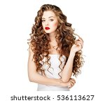 beautiful woman curly long hair ... | Shutterstock . vector #536113627