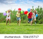 four kids running in park with... | Shutterstock . vector #536155717