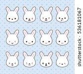 set of cartoon bunny stickers.... | Shutterstock .eps vector #536181067