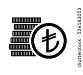 turkish lira money coins sign.... | Shutterstock .eps vector #536183053