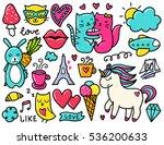 doodles cute elements. color... | Shutterstock .eps vector #536200633